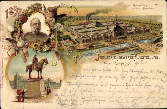 Litho Leipzig, Sächsisch-Thüringische Industrie- und Gewerbeausstellung 1897, König Albert