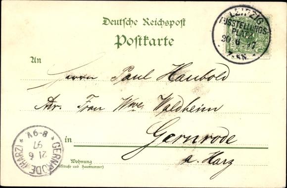 Litho Leipzig, Sächsisch-Thüringische Industrie- und Gewerbeausstellung 1897, König Albert 1