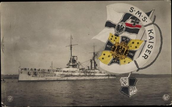 Ak Deutsches Kriegsschiff, SMS Kaiser, Kaiserliche Marine, Fahnen, Wappen 0