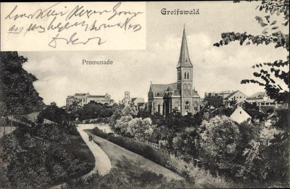Ak Greifswald in Mecklenburg Vorpommern, Promenade, Kirche, Stadtbild 0