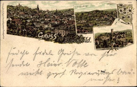Litho Bielefeld in Nordrhein Westfalen, Panorama vom Ort, Johannisberg, Sporenburg 0