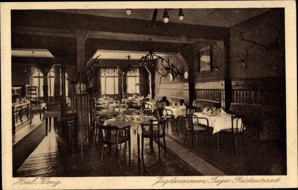 Ak Schierke Wernigerode am Harz, Hotel König, Inh. O. Köhler, Jagdzimmer, Hirschgeweihe 0