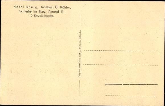 Ak Schierke Wernigerode am Harz, Hotel König, Inh. O. Köhler, Jagdzimmer, Hirschgeweihe 1