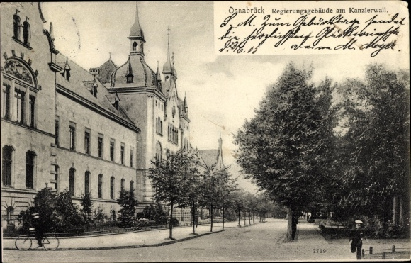 Ak Osnabrück in Niedersachsen, Regierungsgebäude am Kanzlerwall, Grünanlage 0