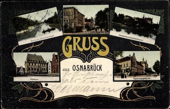 Ak Osnabrück Niedersachsen, Partie am Herrenteichwall, Rathaus, Regierungsgebäude, Töchterschule
