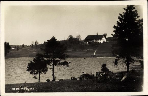 Ak Hergratsried Halblech im Ostallgäu, Partie am Hegratsriedersee, Bäume, Haus 0