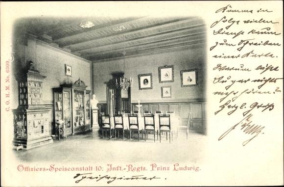 Ak München, 10. Infanterie Regiment Prinz Ludwig, Offiziers Speiseanstalt 0