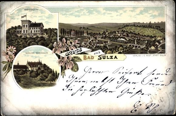 Litho Bad Sulza in Thüringen, Krähenhütte, Schloss Bergsulza, Ortspanorama 0