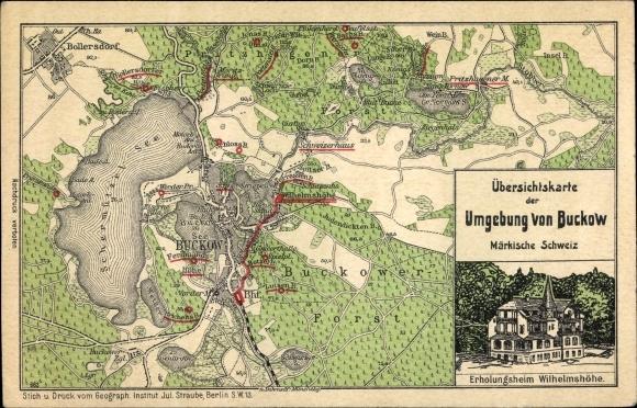 Landkarten Litho Buckow in der Märkischen Schweiz, Erholungsheim Wilhelmshöhe, Schermützelsee, Forst 0