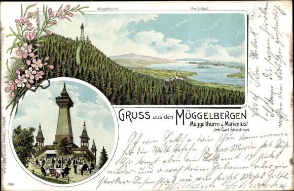 Litho Berlin Köpenick, Müggelturm und Marienlust, Inh. Carl Streichhan, Müggelberge, Panorama 0