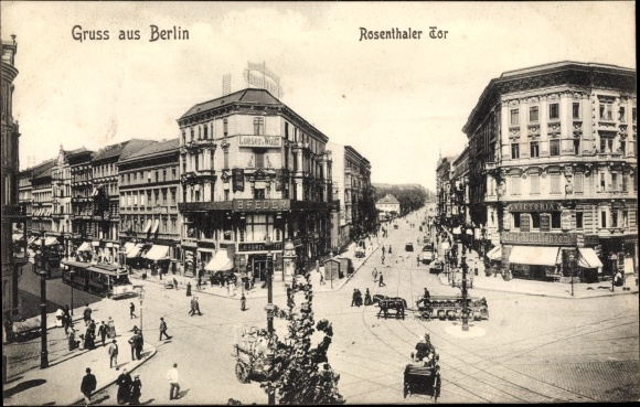 Ak Berlin Mitte, Rosenthaler Tor, Geschäftshaus B. Feder, Carl Martienzen, Loeser & Wolff, Passanten 0