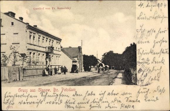 Ak Glasow Blankenfelde Mahlow Teltow Fläming, Gasthof von Fr. Sameisky, Straßenpartie 0