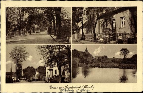 Ak Jacobsdorf Mark Brandenburg, Gasthaus, Geschäftshaus, Straßenpartie, See mit Kirche 0