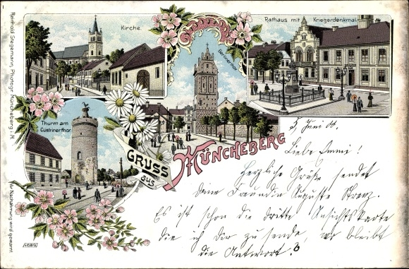 Litho Müncheberg Märkisch Oderland, Kirche, Rathaus, Kriegerdenkmal, Berliner Tor, Küstriner Tor