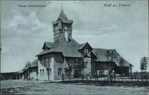 Mondschein Ak Trebbin in Brandenburg, Neues Schützenhaus, Außenansicht 0