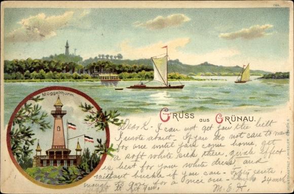 Litho Berlin Köpenick Grünau, Müggelturm, Segelboote auf dem Wasser 0