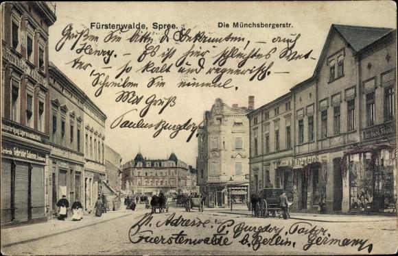 Ak Fürstenwalde, Münchsberger Straße, Geschäft Gebrüder Salomon, A. W. Friedrich, Richard Stock 0