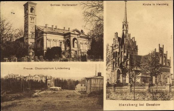 Ak Herzberg Brandenburg, Schloss Hartensdorf, Kirche, Preuss. Meteorolog. Observatorium Lindenberg 0