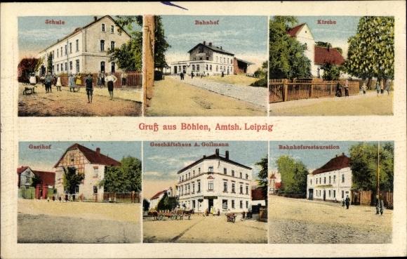 Ak Böhlen Sachsen, Geschäftshaus A. Gollmann, Schule, Bahnhof, Bahnhofsrestauration, Kirche, Gasthof 0