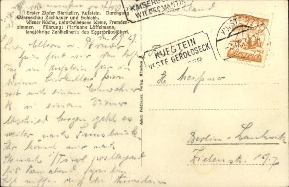 Ak Kufstein in Tirol, Erster Zipfer Bierkeller, Inh. Marianne Löffelmann, Innenansicht 1