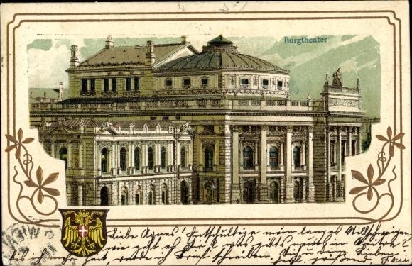 Präge Passepartout Litho Wien 1. Innere Stadt Österreich, Burgtheater, Wappen 0