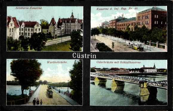 Ak Kostrzyn nad Odrą Cüstrin Ostbrandenburg, Artillerie Kaserne, Kaserne Inf. Reg. Nr. 48, Brücke 0