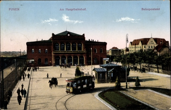 Ak Poznań Posen, Hauptbahnhof vom Vorplatz, Bahnpostamt, Straßenbahn