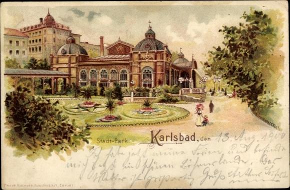 Litho Karlovy Vary Karlsbad Stadt, Stadtpark, Spaziergänger 0