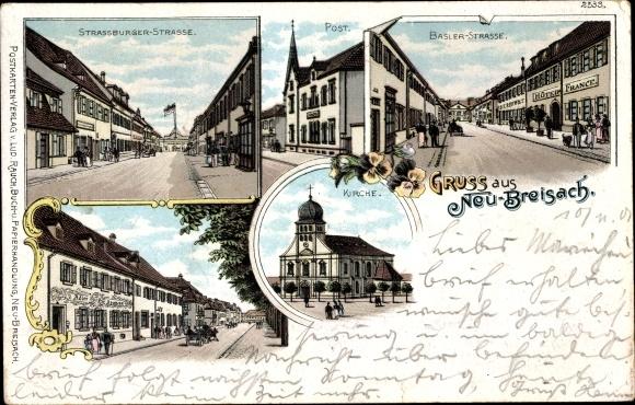 Litho Neuf Brisach Neubreisach Elsass Haut Rhin, Straßburger Straße, Basler Straße, Post, Kirche 0