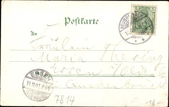 Litho Neuf Brisach Neubreisach Elsass Haut Rhin, Straßburger Straße, Basler Straße, Post, Kirche 1