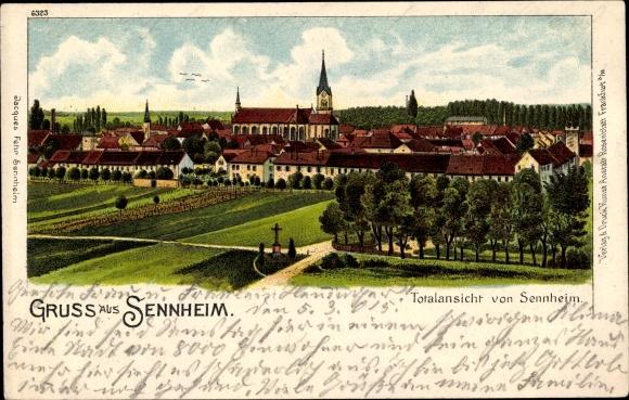 Litho Cernay Sennheim Elsass Haut Rhin, Totalansicht vom Ort 0