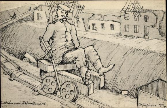 Künstler Ak Siegmann, W., Rückkehr vom Materialtransport, Kriegszerstörungen, I. WK 0