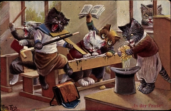 Künstler Ak Thiele, Arthur, In der Pause, Katzenschule, Chaos 0