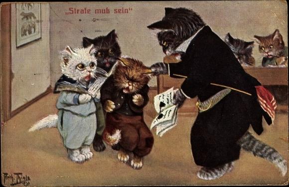 Künstler Ak Thiele, Arthur, Strafe muss sein, Katzenschule, Schulheft, Lehrer