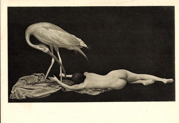 Künstler Ak Müller, Richard, Der rote Ibis, Frauenakt