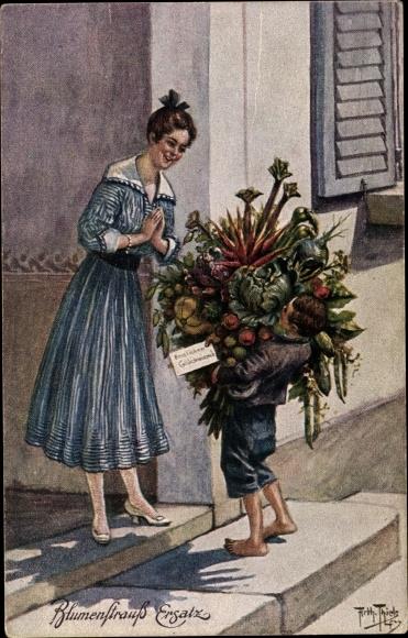 Künstler Ak Thiele, Arthur, Blumenstrauß Ersatz, Gemüse, Bote, Ersatzartikel 0