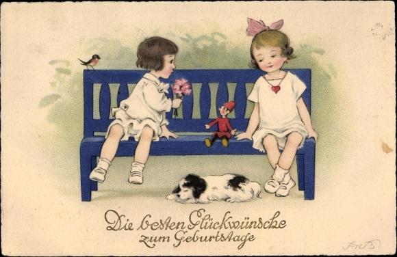 Künstler Ak Baumgarten, Fritz, Glückwunsch Geburtstag, Kinder, Hund, Puppe, Meissner & Buch 2831 0