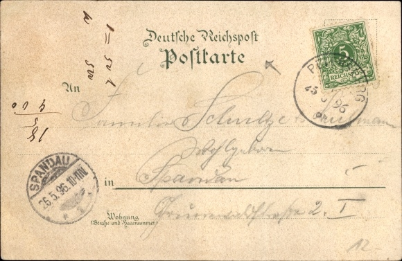 Litho Rheindampfer Undine, Ansicht Backbord 1