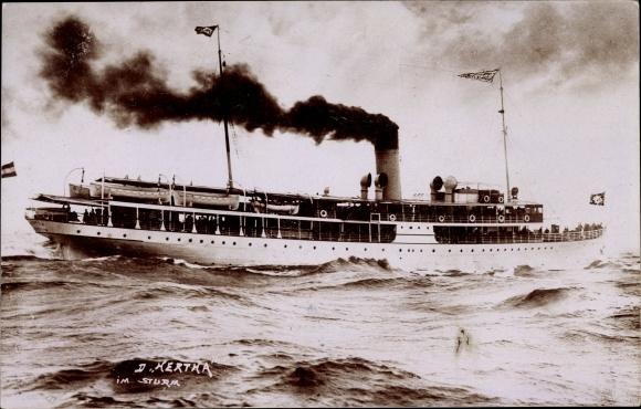 Ak Dampfschiff Hertha im Sturm, Reederei Braeunlich Stettin 0