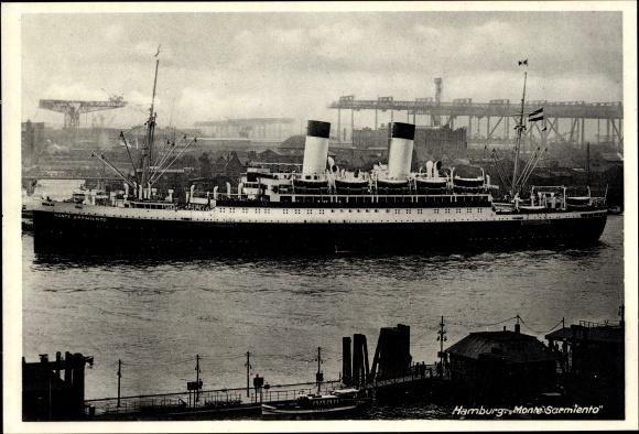 Ak Dampfschiff Monte Sarmiento, HSDG, Hamburger Hafen 0