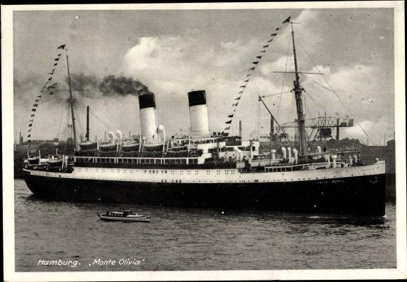 Ak Dampfschiff Monte Olivia, HSDG, Ansicht Steuerbord 0