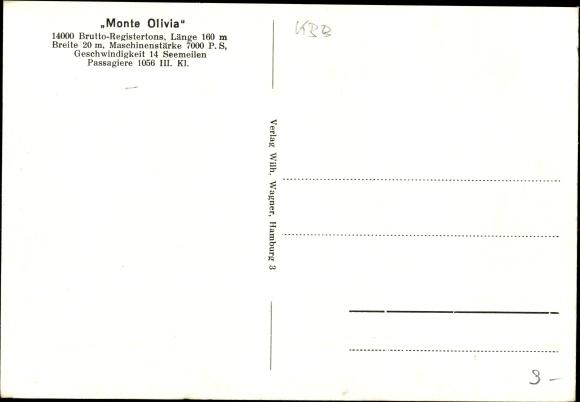 Ak Dampfschiff Monte Olivia, HSDG, Ansicht Steuerbord 1