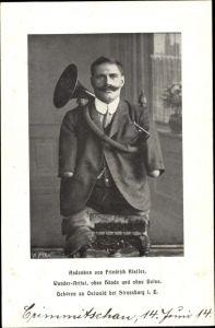 Ak Andenken von Friedrich Kistler, Wunderartist ohne Hände und ohne Beine, Ostwald bei Straßburg