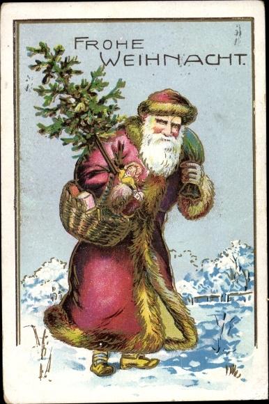 Präge Ak Frohe Weihnachten, Weihnachtsmann mit Tanne 0
