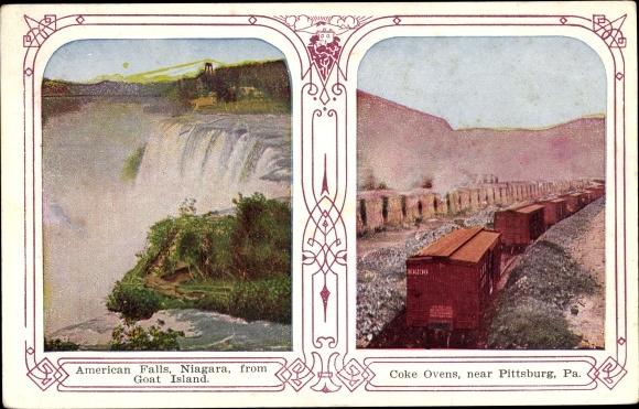 Ak Pittsburgh Pennsylvania USA, American Falls, Niagara from Goat Island, Coke Ovens 0
