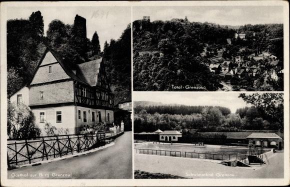 Ak Höhr Grenzhausen im Westerwaldkreis, Gasthof zur Burg Grenzau, Schwimmbad, Ruine