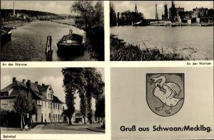 Wappen Ak Schwaan in Mecklenburg Vorpommern, Warnow, Bahnhof, Stadtansichten