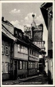 Ak Bad Langensalza in Thüringen, Partie an der Jüdengasse mit Storchennest