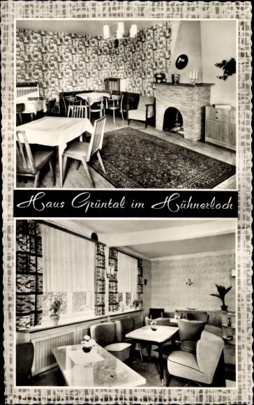 Ak Altenvoerde Ennepetal der Kluterthöhle, Haus Grüntal im Hühnerloch, Innenansicht, Kamin, Sessel