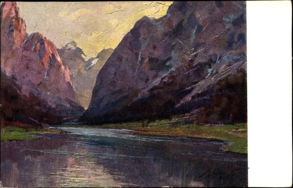 Künstler Ak Polesello, E., Südtirol, Il Lago di Dobbiacco, Blick über den Toblacher See